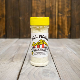 Dill Pickle seasoning for Popcorn Kernels.