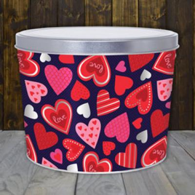 Happy Hearts 2 Gallon Popcorn Tin