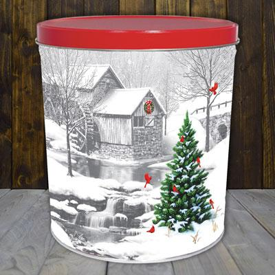 Snow Covered Mill 3.5 Gallon Popcorn Tin