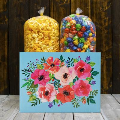 Water Color Flowers Popcorn Gift Box